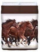 Winter Hardened Wild Horses Duvet Cover