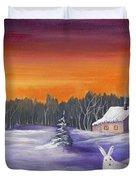Winter Hare Visit Duvet Cover