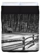 Winter Hut In Black And White Duvet Cover
