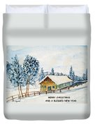 Winter Idyll With Text Duvet Cover