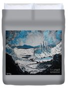 Winter In Ancient Ruins Duvet Cover