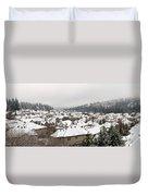 Winter In Residential Suburban City Duvet Cover