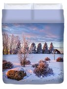 Winter In Pink Color Duvet Cover