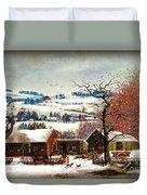 Winter In The Country Folk Art Duvet Cover