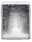 Snowing In The Forrest Duvet Cover