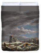 Winter Landscape With Figures On A Path Duvet Cover