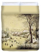 Winter Landscape With Skaters And A Bird Trap Duvet Cover