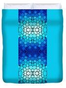 Winter Lights - Blue Mosaic Art By Sharon Cummings Duvet Cover