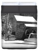 Winter Mill In Black And White Duvet Cover