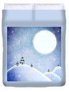 Winter Moon Over Snowy Landscape Duvet Cover