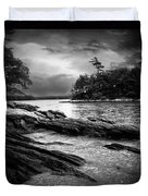 Winter Moonlight Wolfes Neck Woods Maine Duvet Cover by Bob Orsillo