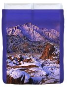 Winter Morning Alabama Hills And Eastern Sierras Duvet Cover
