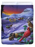 Winter Mountain Landscape - Cardinals On Holly Bush - Small Town - Sleigh Ride - Square Format Duvet Cover