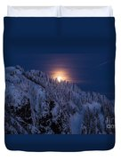 Winter Mountain Moonrise Duvet Cover