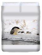 Winter Night Heron Duvet Cover