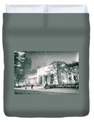 Winter Night In New York City - Snow Falls Onto 5th Avenue Duvet Cover