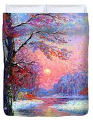 Winter Nightfall, Snow Scene  Duvet Cover