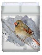 Winter Northern Cardinal Duvet Cover