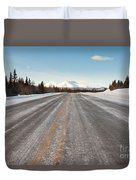 Winter On Country Road In Taiga And Snowy Mountain Duvet Cover