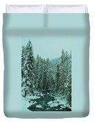 Winter On The American River Duvet Cover
