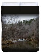 Winter On The Eno River At Fews Ford Duvet Cover