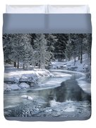 Winter On The Firehole River - Yellowstone National Park Duvet Cover by Sandra Bronstein