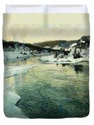 Winter On The Mesna River Near Lillehammer Duvet Cover by Fritz Thaulow