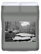 Winter On The Wissahickon Creek Duvet Cover