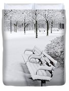 Winter Park With Benches Duvet Cover