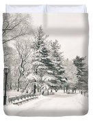 Winter Path - Snow Covered Trees In Central Park Duvet Cover by Vivienne Gucwa