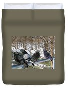 Winter Pigeon Party Duvet Cover
