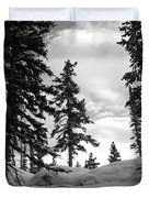 Winter Pines Silhouetted Against The Sky Duvet Cover by Cascade Colors