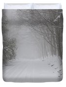 Winter Road During Snow Storm Duvet Cover