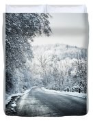 Winter Road In Forest Duvet Cover