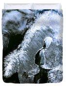 Winter Scandinavia Satellite Map Duvet Cover