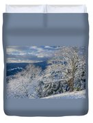 Winter Scene At Berry Summit Duvet Cover