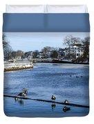 Winter Scene Jersey Shore Town Duvet Cover