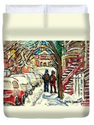 Winter Scene Painting Rows Of Snow Covered Cars First School Day After Christmas Break Montreal Art Duvet Cover