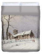 Winter Scene With Figures On A Path Near A Church Duvet Cover
