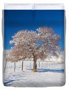 Winter Season On The Plains Portrait Duvet Cover