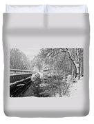 Winter Snow Storm In Somesville Maine Duvet Cover