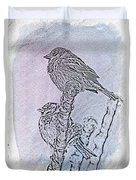 Winter Sparrows 2 Duvet Cover