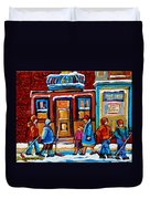 Winter Street In Saint Henri Duvet Cover