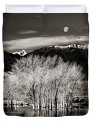 Winter Sunrise And Moonset Duvet Cover