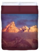 1m9333-winter Sunrise On Teton Range Duvet Cover
