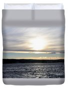 Winter Sunset Over Gardiner's Bay Duvet Cover by John Telfer