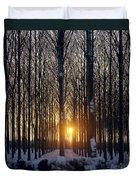 Winter Sunset Through The Trees Duvet Cover