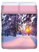 Winter Sunset Through Trees Duvet Cover by Priya Ghose