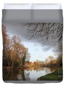 Winter Sunshine On The Wey Canal Surrey Uk Duvet Cover