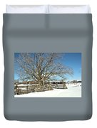 Winter Tree And Fence Duvet Cover